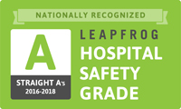 Grade A in The Leapfrog Group's Hospital Safety Grade from 2014 to 2018