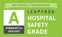 Grade A in The Leapfrog Group's Hospital Safety Grade from 2014 to 2019