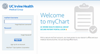 UCI Health Medical Group myChart Login top of screen