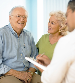 Seniors visiting doctor