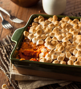 sweet potato casserole topped with mini marshmallows