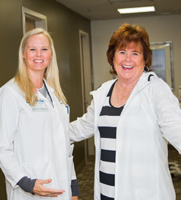 Registered dietitian Amber Isenhart and patient Kathy Paxton