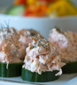 salmon spread on cucumber