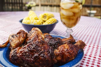 barbecue chicken and corn on the cob
