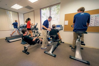 students exercising at perc as part of study