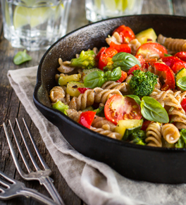 whole wheat pasta and vegetables