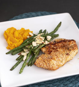 plate with chicken, mashed sweet potatoes and green beans