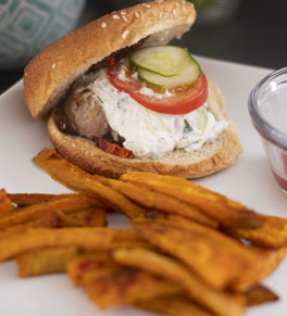 turkey burger, baked sweet potato fries