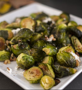 Brussels sprouts with goat cheese and walnuts