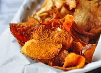 sweet potato chips and nachos