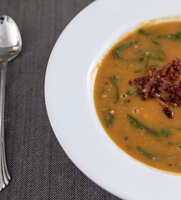 bowl of bean, bacon and spinach soup
