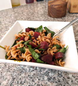 beet whole-wheat pasta salad