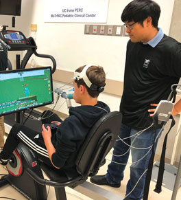 young boy participating in exercise research study