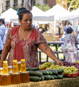 woman choosing fresh fruits and vegetables at farmers market