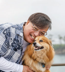 esophageal cancer survivor alwyn kong and his dog shaggy