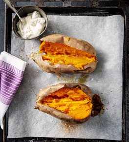 two twice-baked sweet potatoes