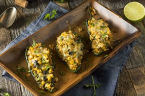 vegetarian quinoa stuffed chili relleno poblano peppers