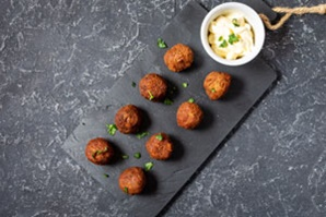 baked tandoori chicken meatballs with yogurt sauce