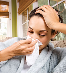 Woman suffers from respiratory virus.