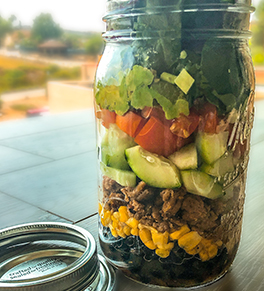 Make-ahead taco salad in a jar