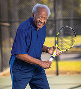Retired university president Horace Mitchell, PhD, is back on the tennis court after treatment for a brain bleed at UCI Health, the first in the national to use a new device to remove clots.i