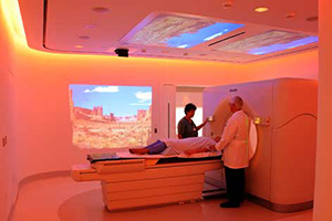 The Ambient Experience suite at UC Irvine's Chao Family Comprehensive Cancer Center is designed to reduce anxiety and minimize discomfort for patients undergoing CT scanning.