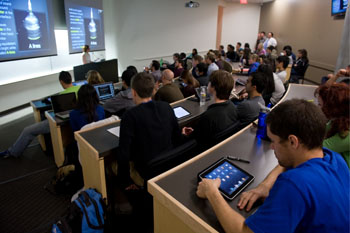 Digital notes, outlines and diagrams dowloaded onto iPads aid students during lecture courses in the UC Irvine School of Medicine.