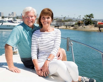 Debra Baker, with husband Greg, on their son's boat