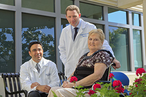Marilyn Claytor, with spine surgeons, Nitin N. Bhatia, MD, and Samuel S. Bederman, MD, PhD