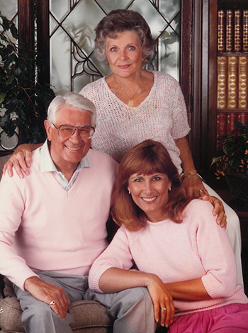 UCI Health pancreatic patient and donor Beth Koehler is pictured with her parents.