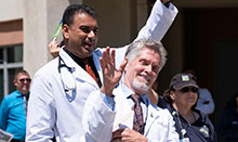 Kidney Transplant team physicians Dr, Uttam Reddy and Dr. Donald Dafoe celebrate Donate Life Day at UCI Medical Center