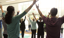 Mindfulness training at the Susan Samueli Center for Integrative Medicine includes yoga.