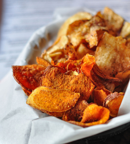sweet potato chips for super bowl party nachos