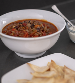 bowl of black bean veggie chili