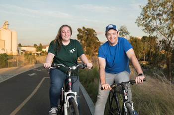michelle schwartz and her husband riding bikes