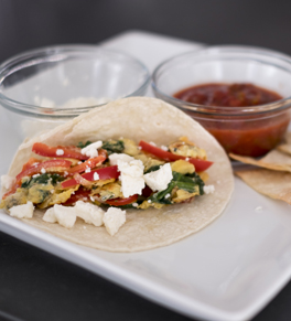 healthy high protein feta spinach breakfast tacos
