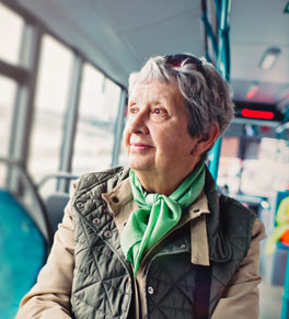 woman with memory problems riding bus