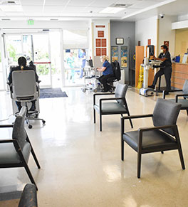 /><p> To protect against the transmission of COVID-19, UCI Health has reconfigured it's ER waiting room to keep patients at least six feet apart.