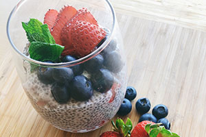 Chia fruit pudding makes a delicious low-carb breakfast or snack