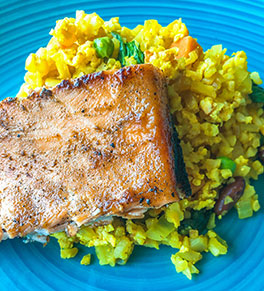 Miso salmon and cauliflower fried rice