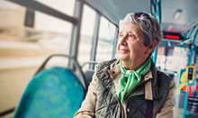 woman with memory loss on the bus